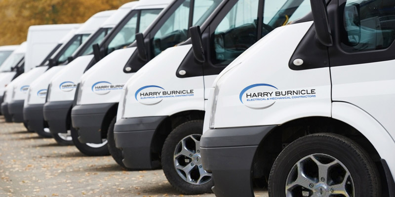 Harry Burnicle Electrical & Mechanical Contractors fleet vehicles